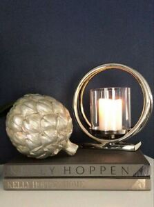 Ohlson Silver Twin Loop Metal Hurricane Lamp Candle Holder