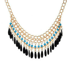 Fashion Womens Gold Bib Crystal Rhinestone Pendant Chain Statement Necklace gift