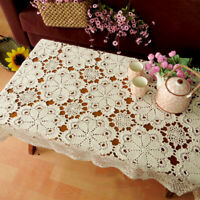 Vintage Hand Crochet Cotton Tablecloth Rectangle Floral Lace Table Cloth Cover