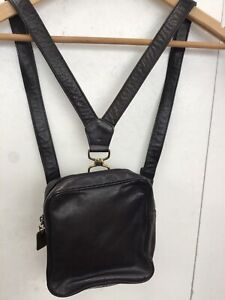 Cute small leather black Donna Karan backpack + dustbag very good condition