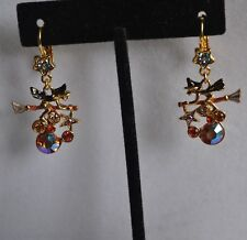 KIRKS FOLLY HALLOWEEN  FLYING WITCH  EARRINGS IN GOLD TONE