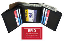 BLACK RFID BLOCKING MEN'S LEATHER TRIFOLD THIN WALLET