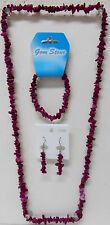 "Wine Tourmaline nugget 16 inch Necklace stretch Bracelet & 2"" Earrings SET of 3"
