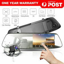"4.3"" Rear View Mirror Dash Car Reverse Camera Kits Double Cam FHD 1080P"