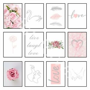 Love Art Print Home Prints Posters Feather One Line Drawing Grey Pink Wall Art