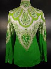 Crazy Beautiful Women's Size 40 ETRO Green Paisley Design Long Sleeve Blouse GUC