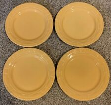 *Longaberger Lot Of 4 Round Luncheon Plates Woven Tradition Butternut Pottery*