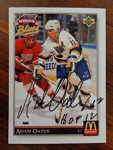 "St. Louis Blues ADAM OATES Signed 1992 Upper Deck ""McDonald's"" Card D"