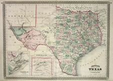 1866 Texas Galveston Bay Johnson vintage map Karte civil war antique engraving