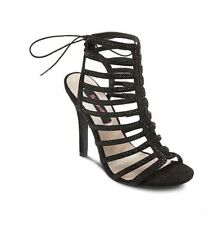 NIB Betseyville By Betsey Johnson Embellished Caged Stardust Heels 8 Black