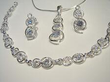 Conjunto de joyas de plata esterlina 925 Cubic Zirconias Pulsera Pendientes Colgante + Caja