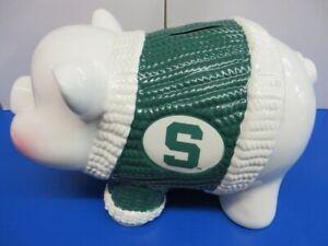 Michigan State Spartans Ceramic Piggy Bank Memory Company Rare Gift Collectible