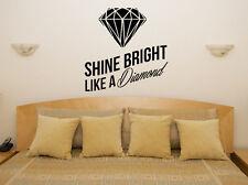 Brilla Como Un Diamante Rihanna Lyric Dormitorio calcomanía Pared Arte Adhesivo De Imagen