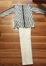White &Gray Outfit - DG2 Animal-Print Blouse (Med) & White Jeans D & Co, Size 10