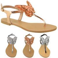 Womens Ladies Flat T-Bar Diamante Sandals Summer Flip Flops Toe Post Shoes Size