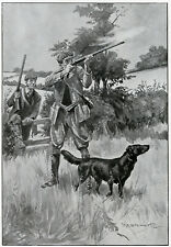 FLATCOATED RETRIEVER Flat Coat DOG ANTIQUE ART PRINT - Shooting Gamekeeper 1906