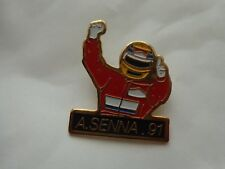 VINTAGE AYRTON SENNA 1991 F1 WORLD CHAMPION CAR PIN BADGE