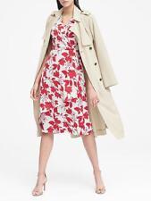 Banana Republic Floral Wrap-Effect Midi Dress, sz 8 Red Floral