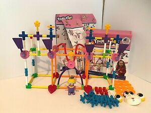 Tinkertoy Pink Girl Building K'Nex Set Almost 150 Pieces Plastic Mostly Complete