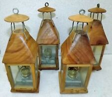 Set of 4. Hanging Wooden Candle Lanterns Lamps Oil Led Vietnamese Boat Lanterns