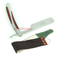 Stainless Steel Barber Straight Edge Razors Folding Shaving Shaver + Strop cloth
