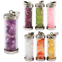 Fashion Luminous Wishing Bottle Pendant Gemstone Necklace Reiki Jewellery Gift