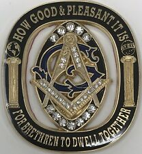 New Freemason Masonic cut-out car emblem in Back and Gold with Jewels