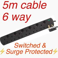 6 WAY / GANG 5M SURGE PROTECTED SWITCHED EXTENSION LEAD CABLE BLACK NEON SWITCH