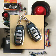 Car Alarm Security System with Siren + Remote Central Locking Kit + Shock Sensor