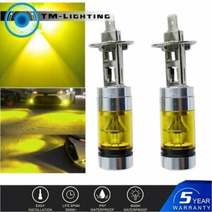2PCS H1 4300K 100W LED YELLOW 20-SMD Projector Fog/Driving DRL Light Bulbs