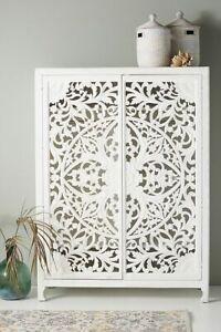 Wooden hand carved modern elegant white sideboard