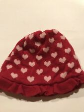 Janie And Jack Baby Girl Hat Red Knit With Hearts  Lined 6 - 12 Months