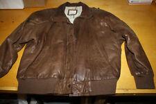 Vintage John Weitz Women's  L Distressed Leather Bomber Jacket w Pilot Map Linig