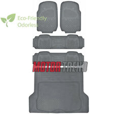 Heavy Duty All Weather 5pc Gray Rubber Floor Mats Set w/ Liner MOTORTREND