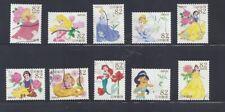 Japan 2015 Disney Princesses Complete Used Set of 10 Sc# 3960 a-j 82Y