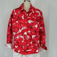 Rafaella Floral Print Red Poppies Women's Colorful Jean Jacket Size XL