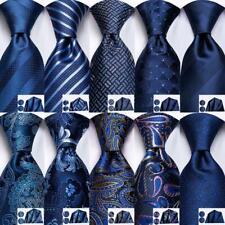 Novelty Mens Ties Set Silk Necktie Hanky Cufflinks Navy Blue Geometric Strips US