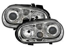 2 FEUX PHARE AVANT ANGEL EYES VW GOLF 4 FOND CHROME