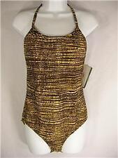 Speedo brown yellow swimsuit Swimwear new NWT $82 sz 6