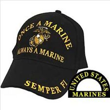 Once a Marine, Always a Marine, Black Cloth, High Quality Ball Cap.