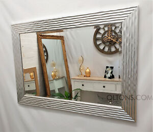 Delphine Wave Mirror Silver / Chrome Wooden Frame Bevelled Glass 69x95cm