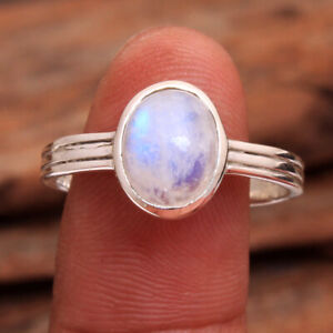 Oval Moonstone Gemstone 925 sterling Silver Jewelry Solid Ring Size US 7