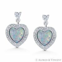 White Lab-Opal CZ Crystal 925 Sterling Silver Dangling Heart Love Charm Earrings
