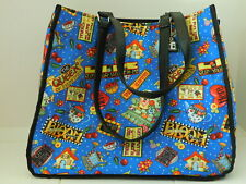 Mary Engelbreit Blue Tote Bag w/ Me Tag Chain Phrases Pattern w/Blue Background