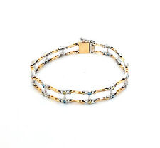 1.0 CTS Yellow & Blue Diamond Link Two-Tone 14k Gold Bracelet