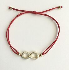 GOLD PLATED OVER 925 SILVER INFINITY RED BRACELET/PULSERA ROJO DE INFINITO-18mm
