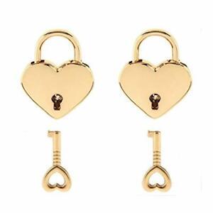 Warmtree Small Metal Heart Shaped Padlock Mini Lock with Key for Jewelry Box