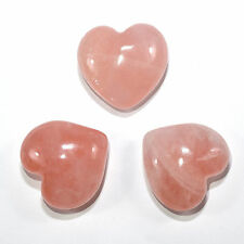 Pair 45mm Rose Quartz Puffy Hearts Natural Pink Mineral Love Stone India (2PCS)