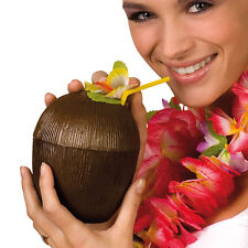 Tropical Hawaiian Luau Paradise BBQ Party Brown Plastic Coconut Cup with straw