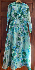 Vintage Blue Floral Evening Gown Dress with Organza Overlay 60s